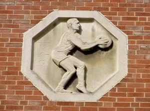 basketball player on building