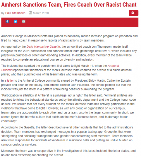 News about Amherst Lacross Team's discipline