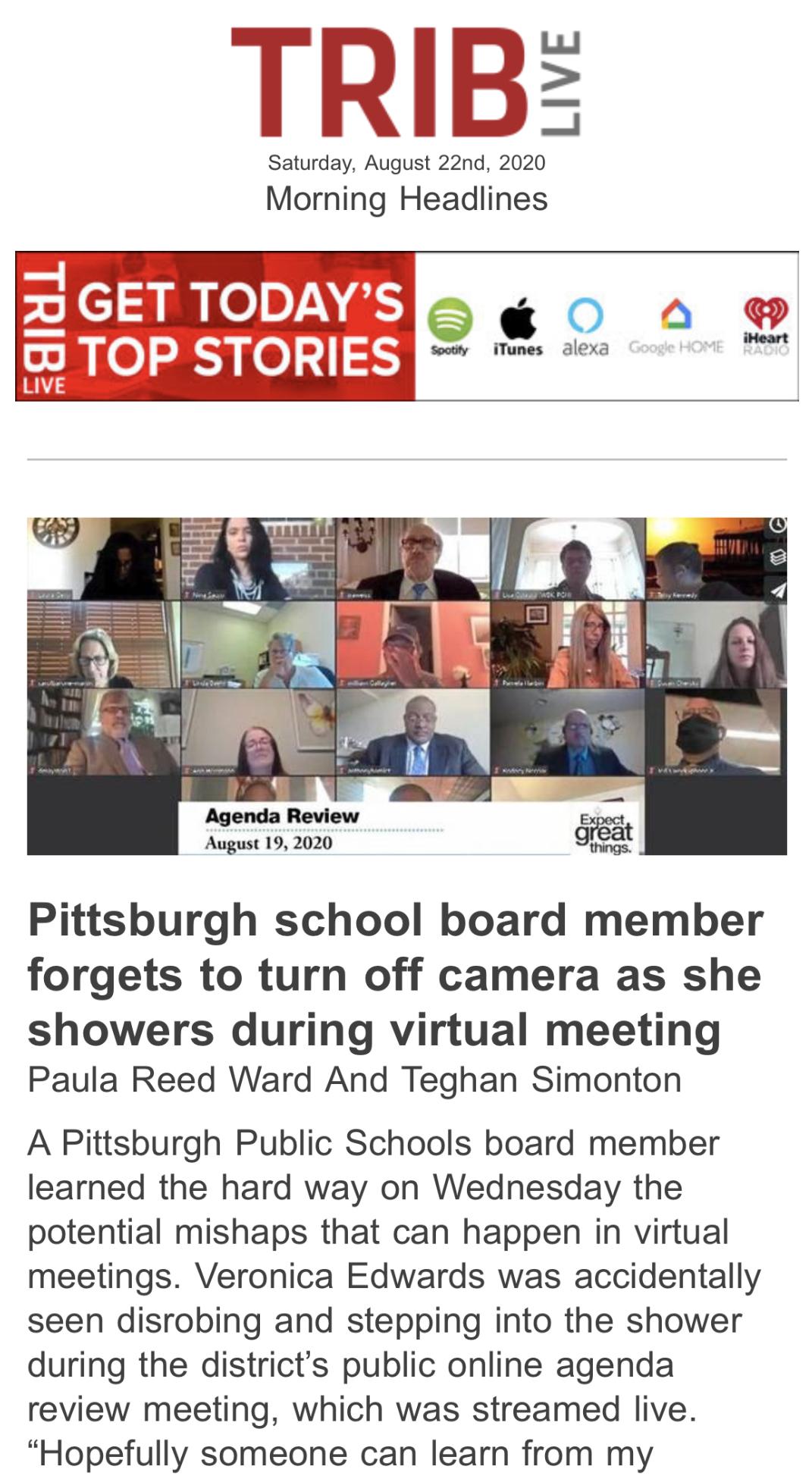 Trib screen grab of headline