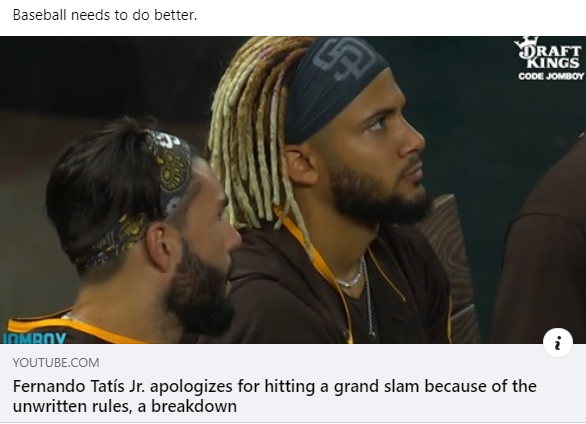 Scolded for hitting a grand slam