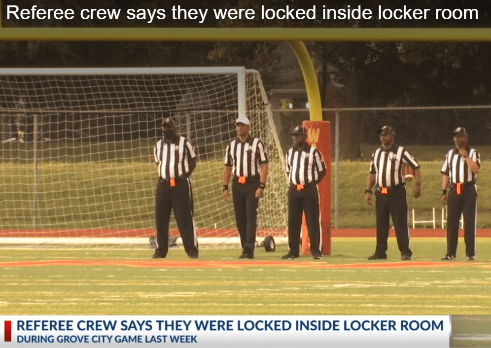 Referees blocked inside locker room after the game