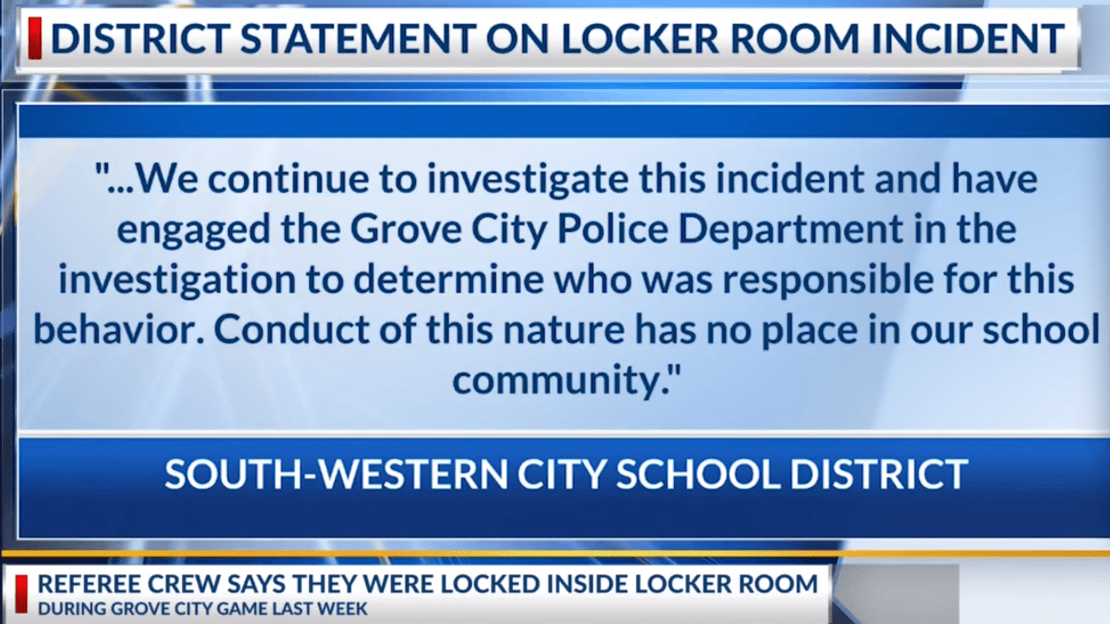School statement about treatment of officials